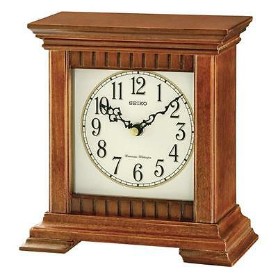 Seiko QXJ028B Durable Best Quality Wooden Mantel Clock with Dual Chimes - Brown