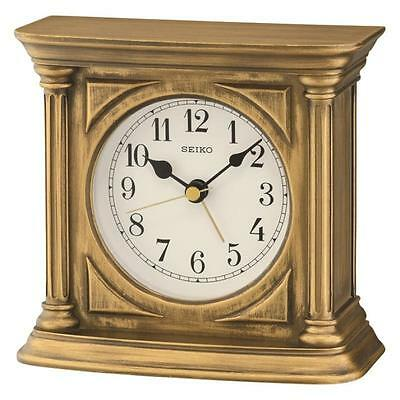 Seiko QXE051G Durable Best Quality Antique Finish Mantel Alarm Clock - Gold