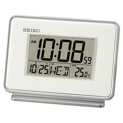 Seiko QHL068W LCD Dual Beep Alarm Calendar Thermometer and Snooze Clock White