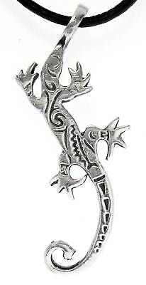 LIZARD GECKO Silver Pewter Pendant Leather  Surfer