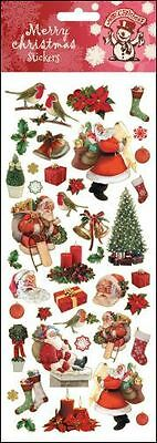 STICKER SHEET - Christmas Xmas Robins and Santa  748