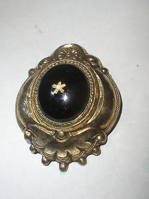 Antique Victorian   Brooch Pin enamel Mourning jewelry