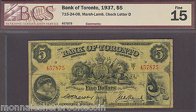 1937  $5 Dollars - F 15 - Bank of Toronto - BCS Certified - B684