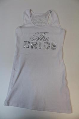 W12835 Womens DAVID'S BRIDAL White LACE Racerback Studded THE BRIDE Tank TOP MED