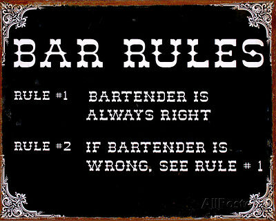 Bar Rules Tin Sign - 15x12