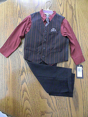 Toddlers Dockers 4 Piece Dress Suit Church/Easter/Wedding Red/Black/Gray Tie