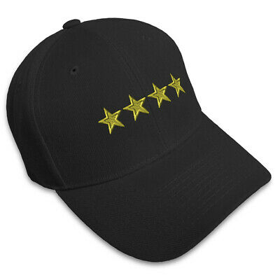 General 4 Stars Embroidery Embroidered Adjustable Hat Baseball Cap