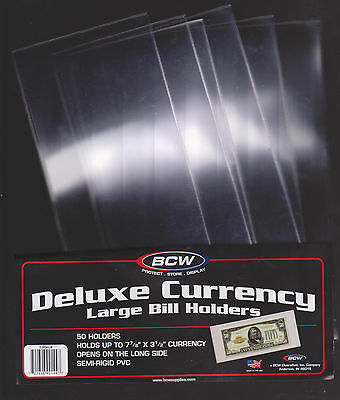 (25) Large Bcw Deluxe Currency Sleeve Bill Paper Note Money Holders Semi Rigid.0