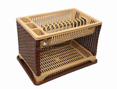 Modern Two 2 Layer Plastic Dish Drainer Rack Utensil Cutlery Brown Sides Tray