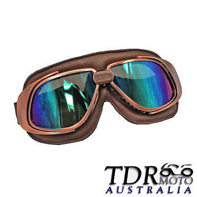 Vintage Old School Style Motorcycle Bike Scooter Aviator Cruiser Goggles Harley