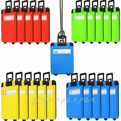 5X Luggage Tags Suitcase Bag Tag label Name Address Nom ID Tags Travel -UK