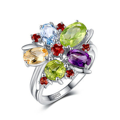 JewelryPalace Natural Amethyst Garnet Peridot Topaz Ring 925 Sterling Silver