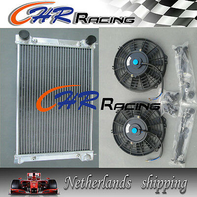 Aluminum radiator for VW GOLF MK1/2 MK1 MK2 1.6 1.8 8V Manual and 2 X FANS