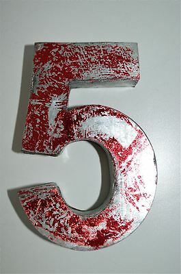 Fantastic Vintage Style Red 3D Metal Shop Sign Number 5 Advertising Font