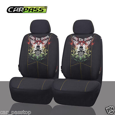 Universal Interior black Two Front Car Seat Covers Set Breathable Fit Airbag Set