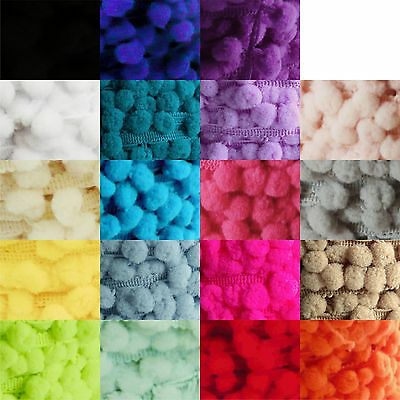 Small pom pom trim 8mm - mini baby sized bobble fringe - choose from 19 colours