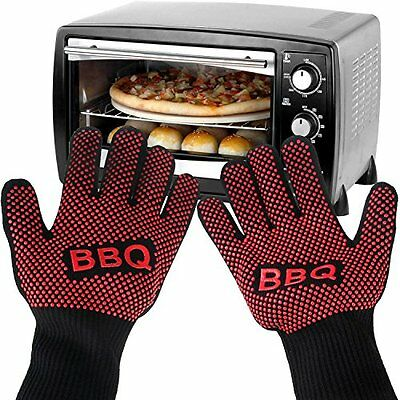 Oven Gloves, Pupow Heat Resistant BBQ Mittens Hot Oven Cooking Gloves Best Heat