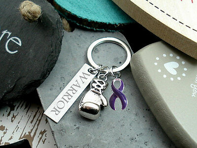 WARRIOR Boxing Glove Keychain PURPLE Awareness Crohns Ulcerative Colitis #P3