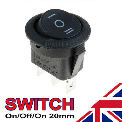 On/Off/On Black Round Rocker Switch Car Automotive 20mm SPDT 2 Way Dash