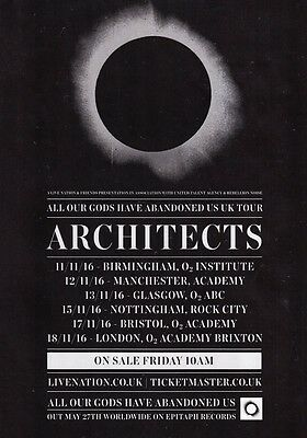 ARCHITECTS All Our Gods Have Abandoned Us 2016 UK Tour PHOTO Print POSTER Band 6