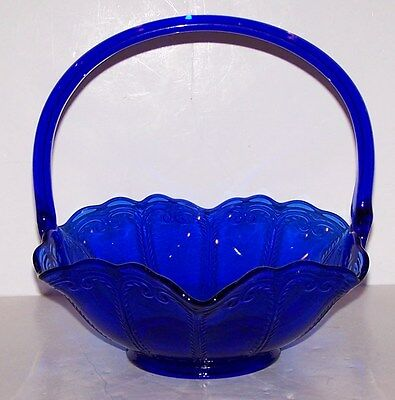 """Stunning Le Smith Cobalt Blue Glass Crimped 8"""" Tall Basket"""