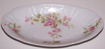 Gorgeous Vintage Limoges France William Guerin Pink Floral Gold Oval Relish Tray