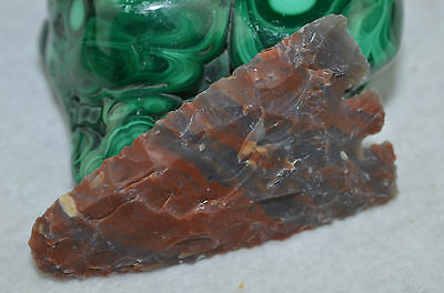 "Red Black 3.2"" Arrowhead Flint Spearhead Chert Point Knife Blade  B272"