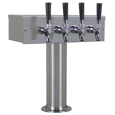 Kegco TTOW-4F-BRUSH T-Style 4 Tap Draft Beer Tower - Brushed Stainless Steel