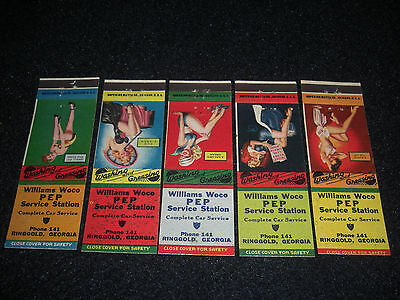 1946 Williams Woco PeP Pure  Service Station Matchbook Covers  Set of 5  Girls