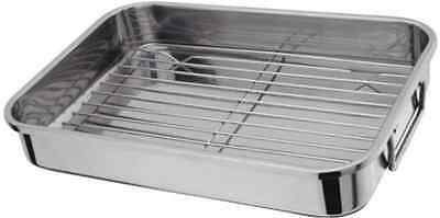STAINLESS STEEL ROASTING TRAY OVEN PAN DISH BAKING ROASTER TIN GRILL RACK Medium
