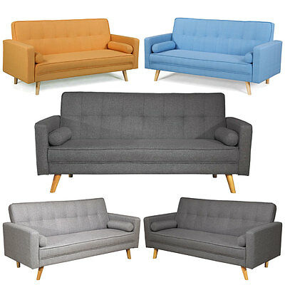 Fabric Sofa Bed Light Grey Charcoal 3 Seater Cool Modern Scandi Style Design