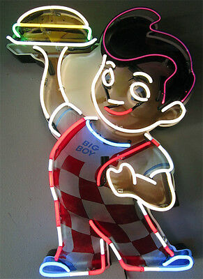 Retro Bob's Big Boy Restaurant Diner Neon (video)