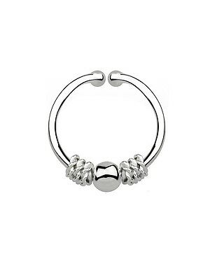 Sterling Silver Illusion Fake Septum Clicker Nose Ring Wire Bali Bead Ball Motif