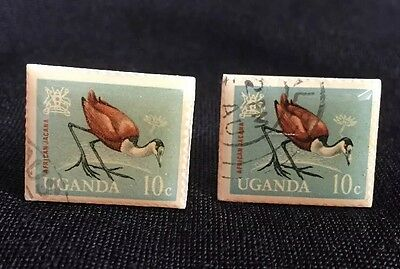 Vintage Bird Postage Stamp Cufflinks Uganda 10 Cents Duck