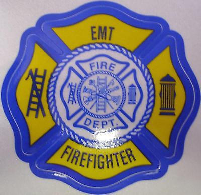 Emt Firefighter W/ Maltese Cross Center  3M  3 Inches Navy Yellow
