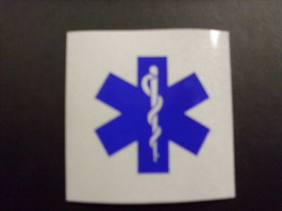 "Star Of Life 2"" Square White & Blue Reflective Decal Sticker"