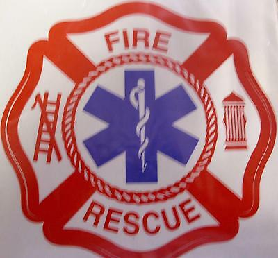 """Fire Dept Rescue  6"""" 3M  Red White W/ Blue Star Of Life Center Decal Sticker"""