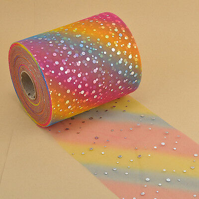 "5YD/100YD 6""iridescence Sequins Tulle Party Wedding  Dress Decoration L2928-2929"