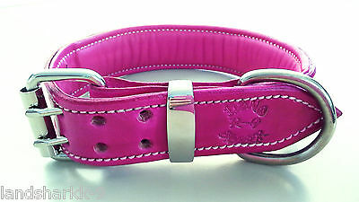 Pink Leather Dog Collar with Soft Pink Sheepskin Leather Padded Inner Lining