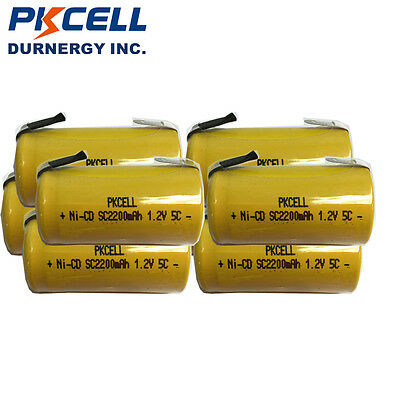 8pcs Sub C NICD SC Rechargeable Batteries 1.2v Genuine 2200mAH With Tabs PKCELL