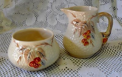 Wade Brambles Open Sugar Bowl And Creamer Autumn Tones Made In England