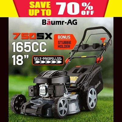 "NEW Lawn Mower Self Propelled 18"" 165cc 4 Stroke Baumr-AG Petrol Lawnmower Catch"