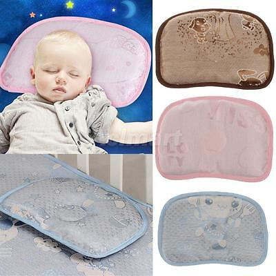 Newborn Baby Bed Pillow Cartoon Embroider Head Cushion Pad Prevent Flat Head