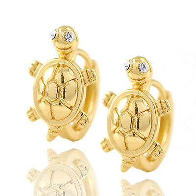 Toddler girls kids 14K Solid gold Filled Cute Turtle safety baby Hoop Earrings