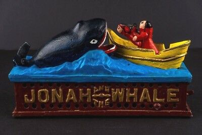 Jonah and the Whale Mechanical Cast Iron Bank Reproduction