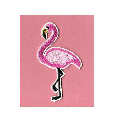 Flamingo - Tropical bird - Pinks - Embroidered Iron On Applique Patch - 3 1/8H