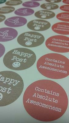 Thank You Happy Post Paper Stickers Pastel Colours 37mm Round