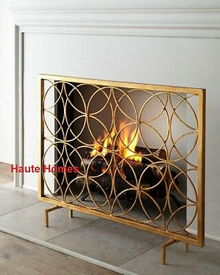 NEW Designer Horchow Single Panel MODERN Gold Fireplace Screen GEOMETRICAL