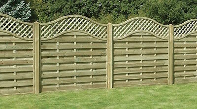 Omega Lattice Top Wooden Fence Panel Garden -  6ft (1.8m) Wide Various Heights!
