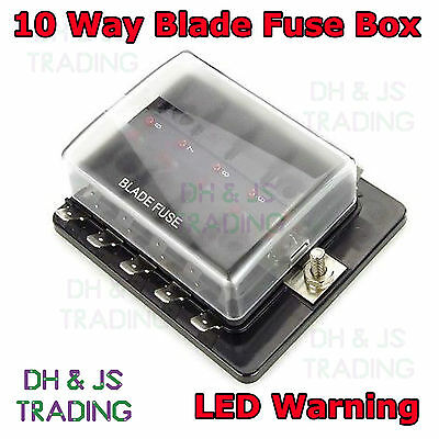 10 Way Fusebox 1 Power In LED Light Blade Fuse Box Fuseholder for Marine Van Car